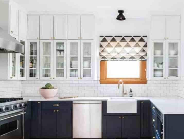 Clean Lines from Modern-Painted Rustic Kitchen Cabinet