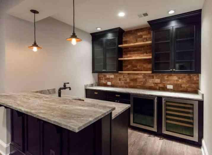 Rustic Cabinet with Brick Backsplash