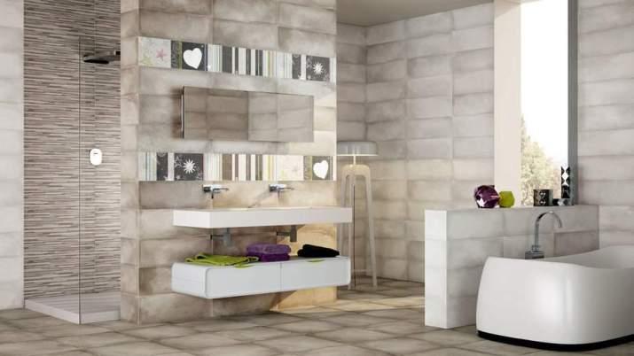 Grey Bathroom with Unique Design