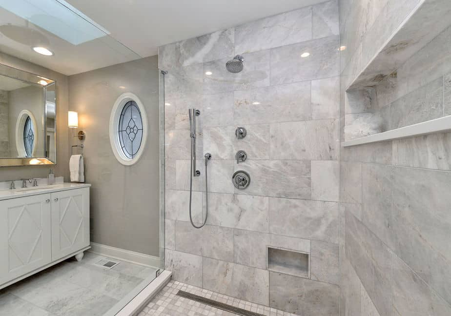 Grey Bathroom with Glass Partition