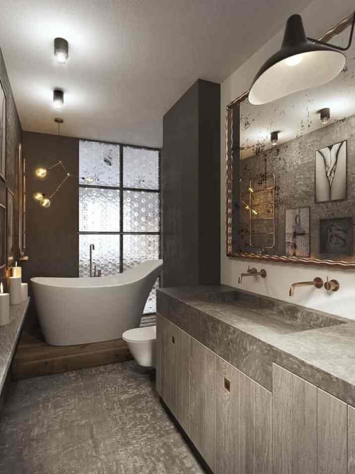 Grey Bathroom with Innovative Décor