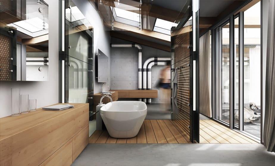 Terrific Ceiling for Industrial Bathroom
