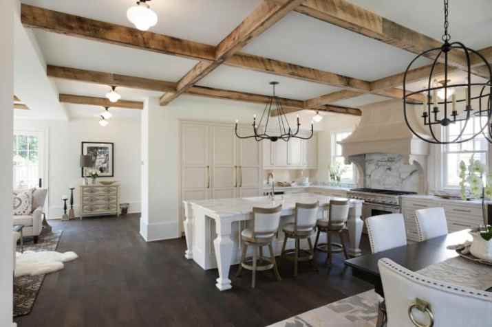 the easy intalled Wood Ceiling Ideas for Kitchen