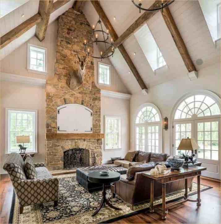 Fireplace with Vaulted Ceiling Ideas with mirror