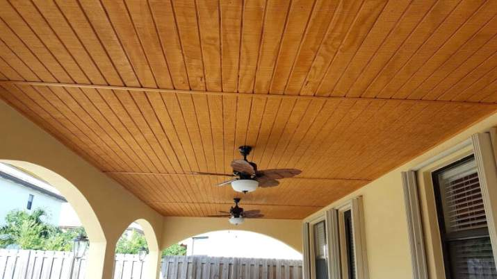 Outdoor Wood Ceiling Ideas with pendant lamp