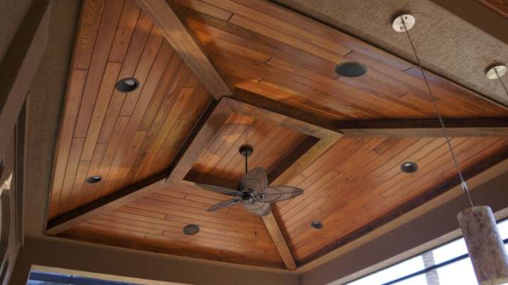 Outdoor Wood Ceiling Ideas with recessed lamp