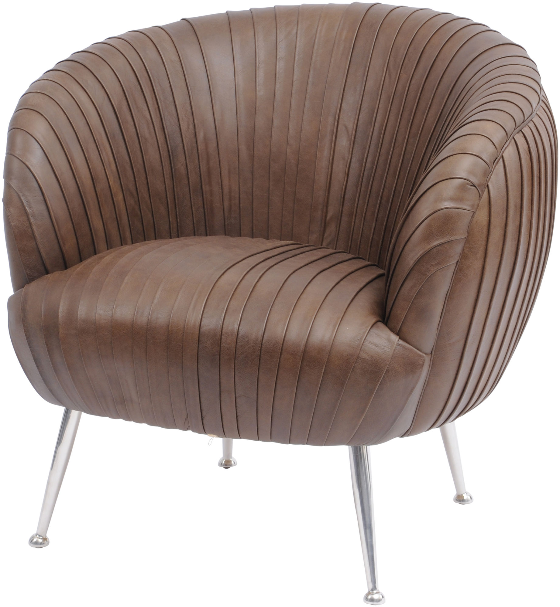 Brown Leather Chairs Libra Company Gatsby Pleated Brown Leather Occasional Chair