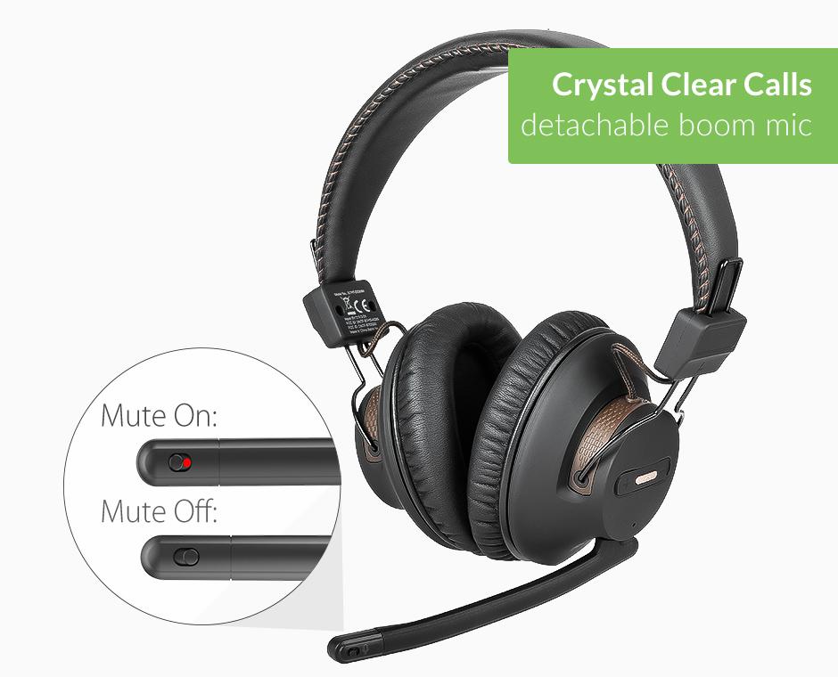 Wireless Headphones with detachable boom mic   Avantree AS9M
