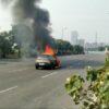 burning car on JVLR