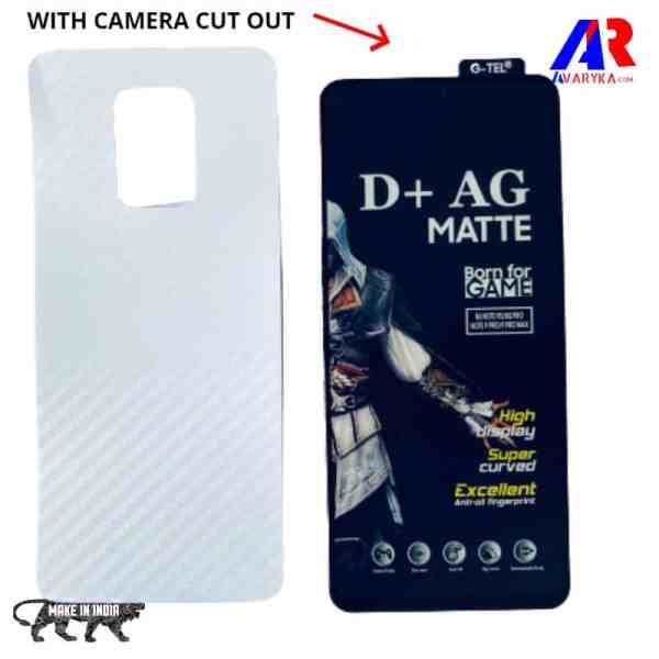 Redmi Note 9/Note 9 Pro Tempered Glass and Back Skin Combo Free Gaming Edititon | D+ AG Matte Gaming Tempered Glass Edge to Edge Screen Guard Protector with back Skin (BORN FOR GAMER)