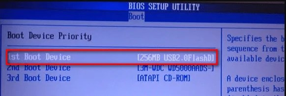 Change 1st boot device