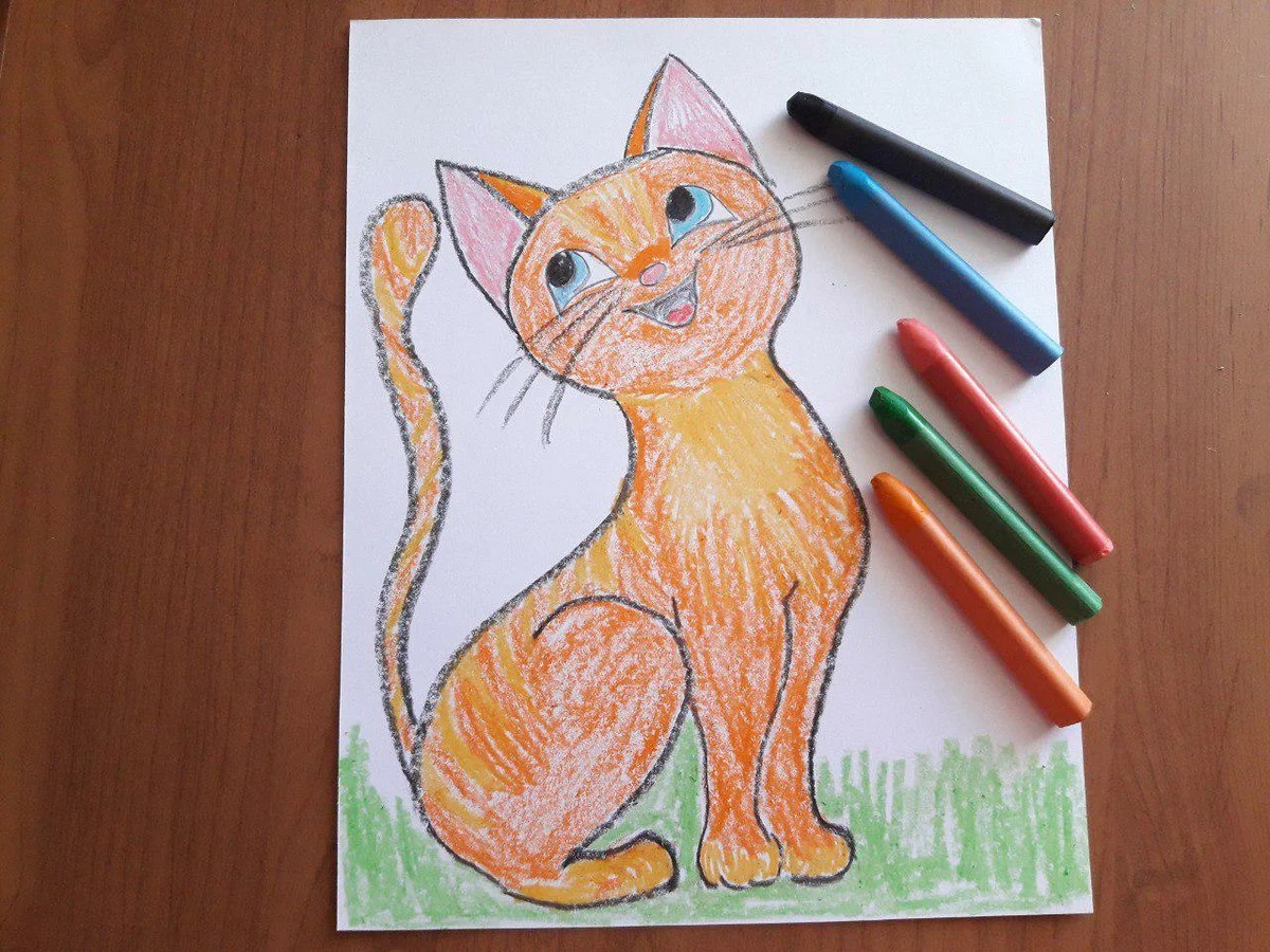 how to draw a kitten with children