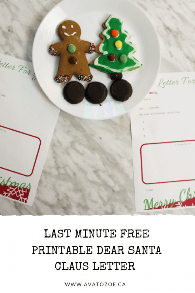 Last Minute Free Printable Dear Santa Claus Letter Template