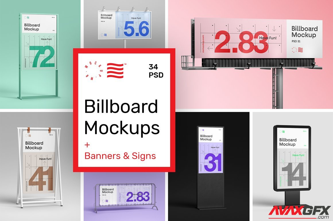 Direct download only for vip member: Outdoor Advertising Mockups