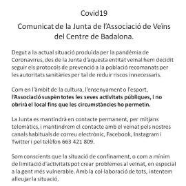 COMUNICAT DE LA JUNTA DE L'ASSOCIACIÓ DE VEÏNS DEL CENTRE