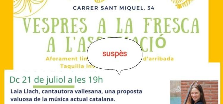 SUSPENSIÓ ACTIVITAT 21 DE JULIOL