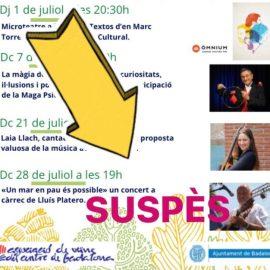 SUSPENSIÓ ACTIVITAT 28 DE JULIOL