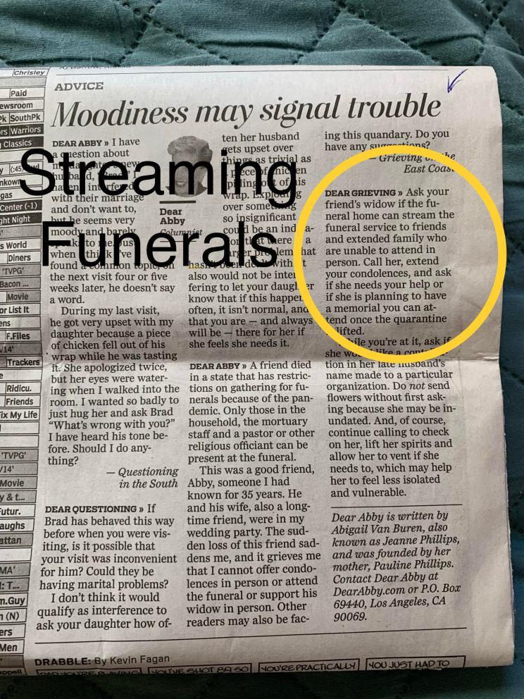 Zoom Funeral Videos Dear Abby