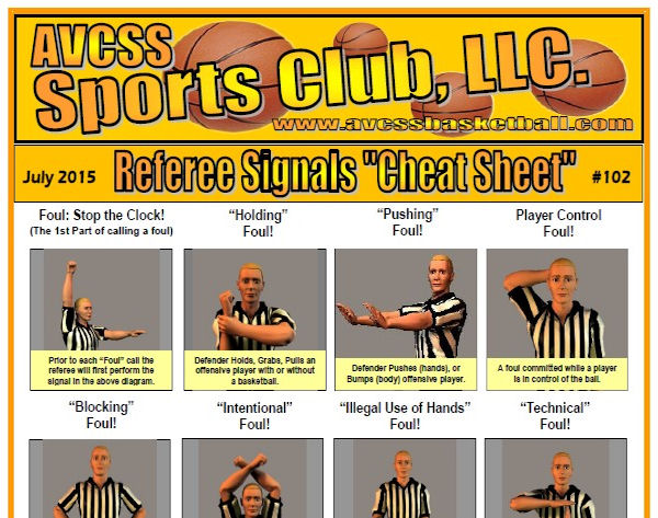 Youth Basketball Referee Cheat Sheet