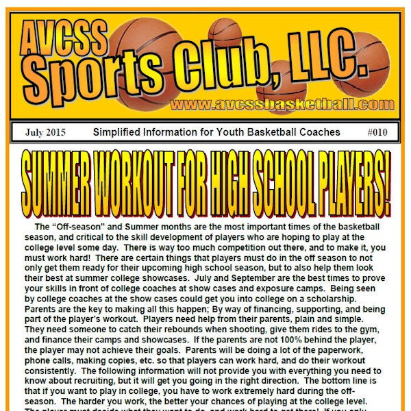 Summer Workout for High School Players