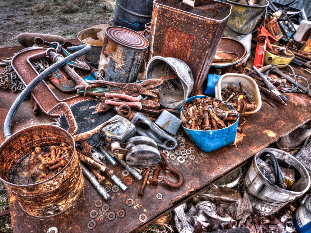 Rusty tools on a bench