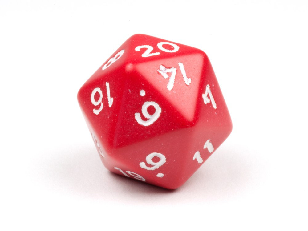 A single red 20-sided die on white   © Michaeleisenhut   Dreamstime Stock Photos   © Michaeleisenhut   Dreamstime Stock Photos