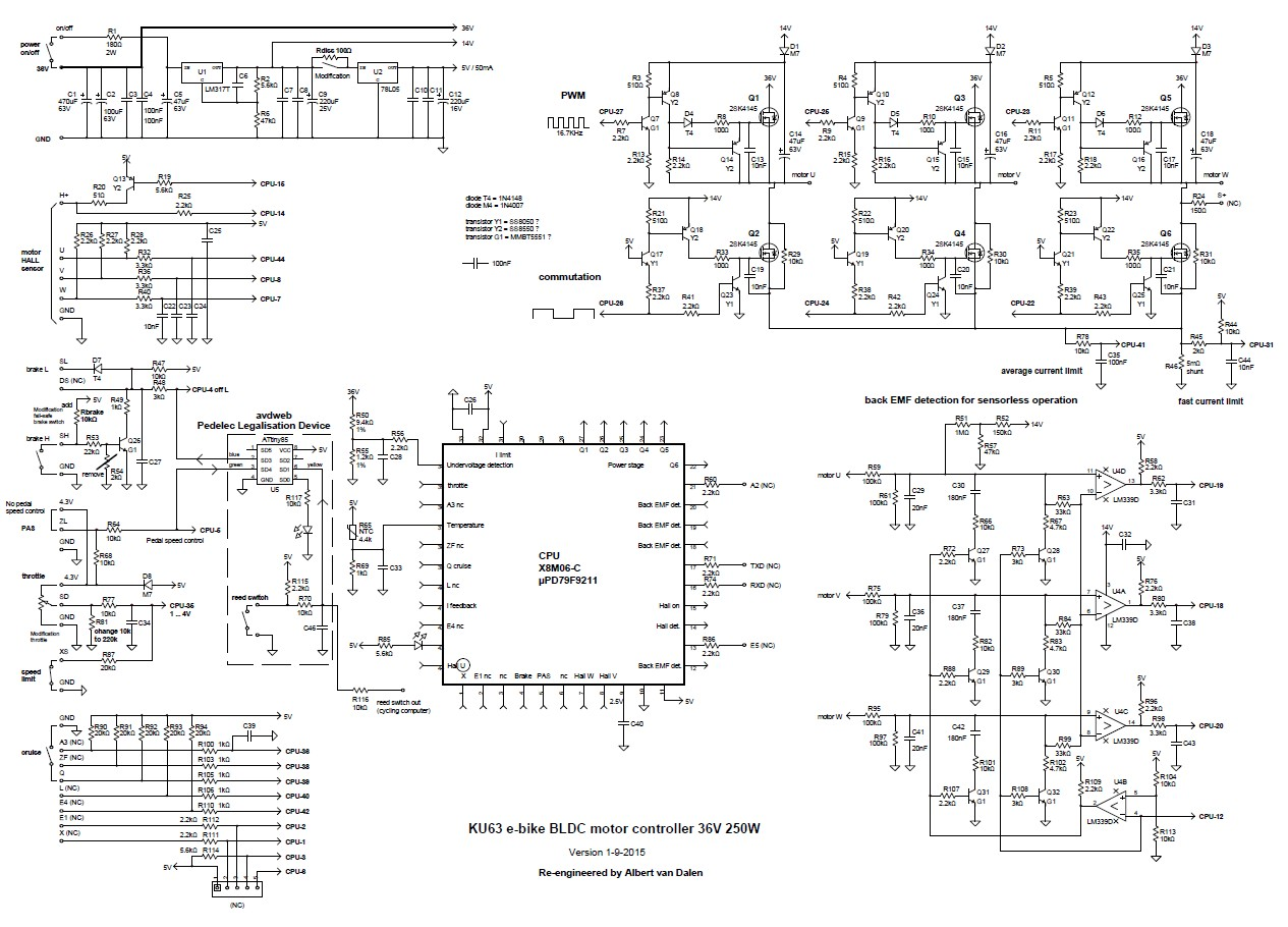data cable wiring diagram square d 3 phase magnetic starter ku63 motor controller china bldc 36v 250w circuit