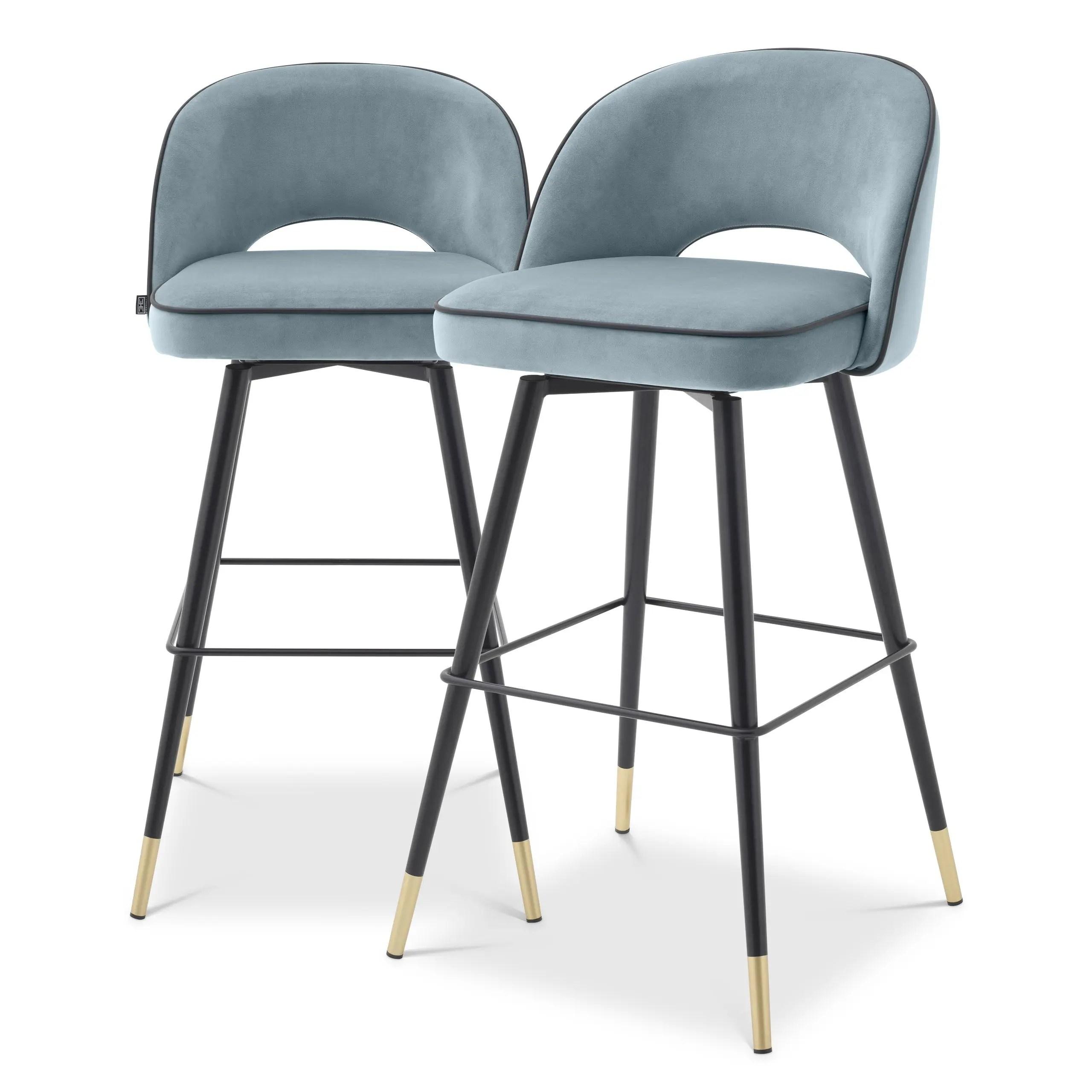 Set di sedie da sala d'attesa in rame chair design anni '70. Sgabello Sedia Bar Cliff Set Di 2 Velluto Blu Celeste H 103cm Avecasa