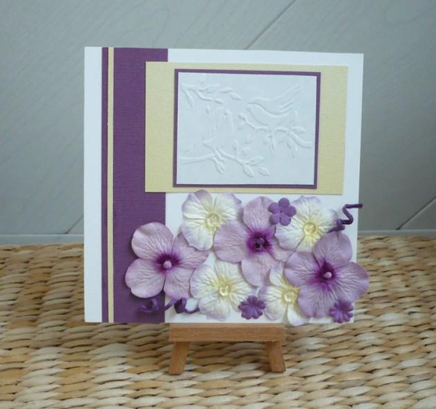 carte oiseaux scrapbooking violet