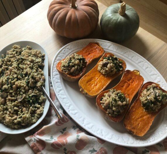 Courge Butternut Farcie au Risotto d'Orge et Champignons // Stuffed Butternut Squash with Barley Risotto and Mushrooms