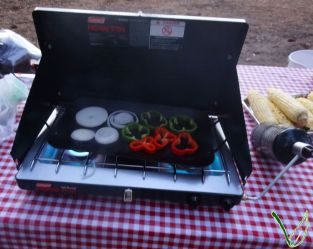 Grilling the veggies on the stove