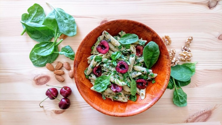 Creamy Avocado Pasta with Mixed Nuts and Cherries