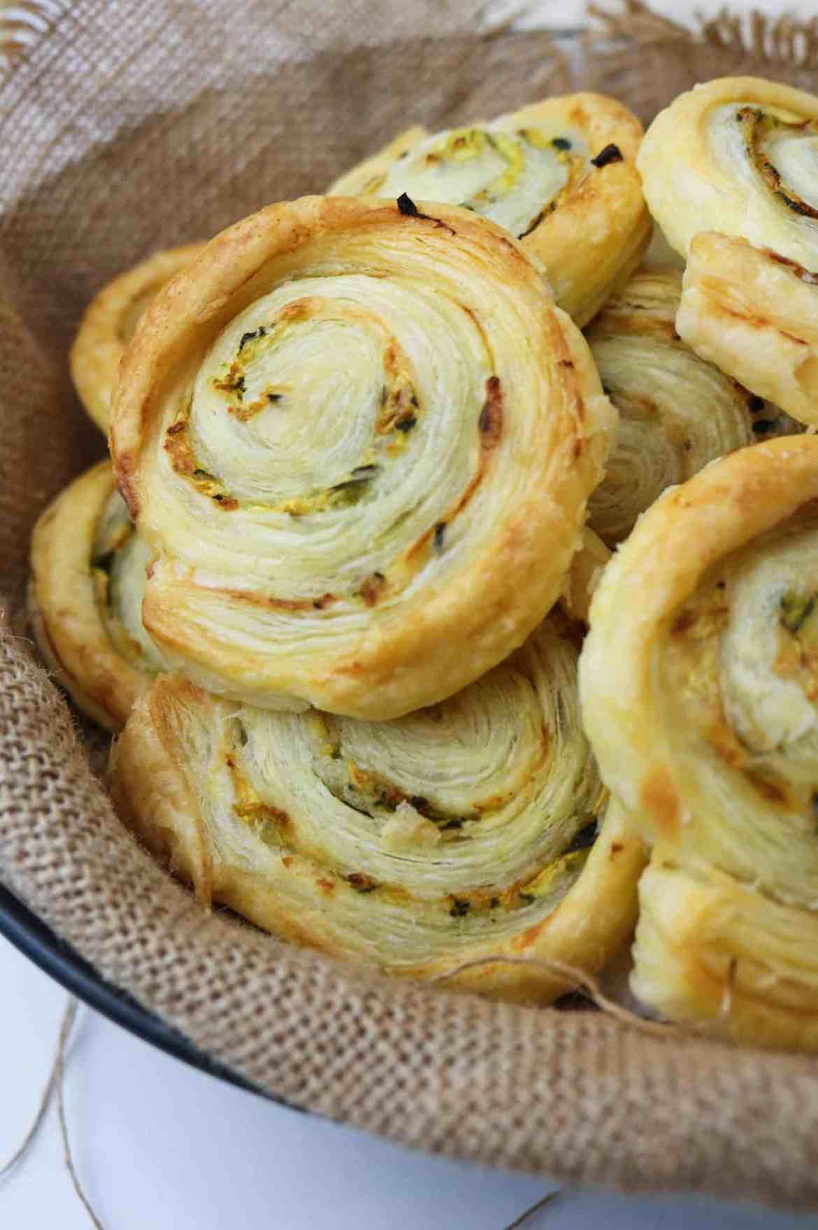 vegan zucchini and smoked paprika pastry roll ups