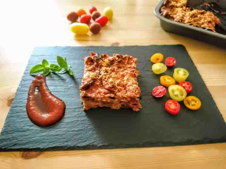 Vegan Parmigiana on serving dish