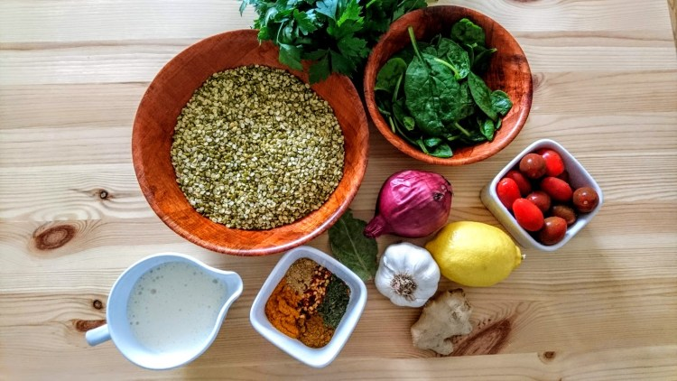 ingredients for Green Split Lentil Dahl