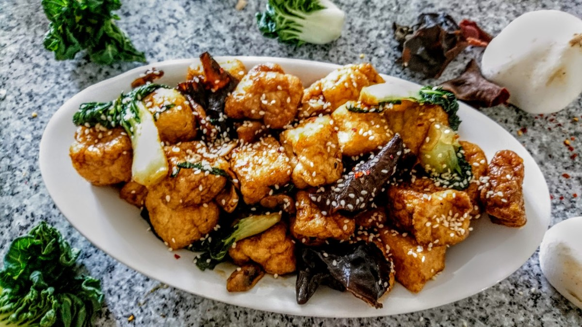 Chinese Style Deep Fried Tofu Puffs with Mushrooms & Baby Pak Choi