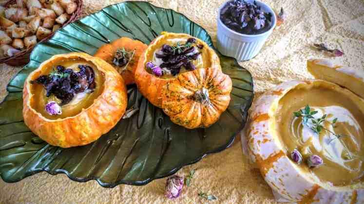 roasted pumpkin soup searved