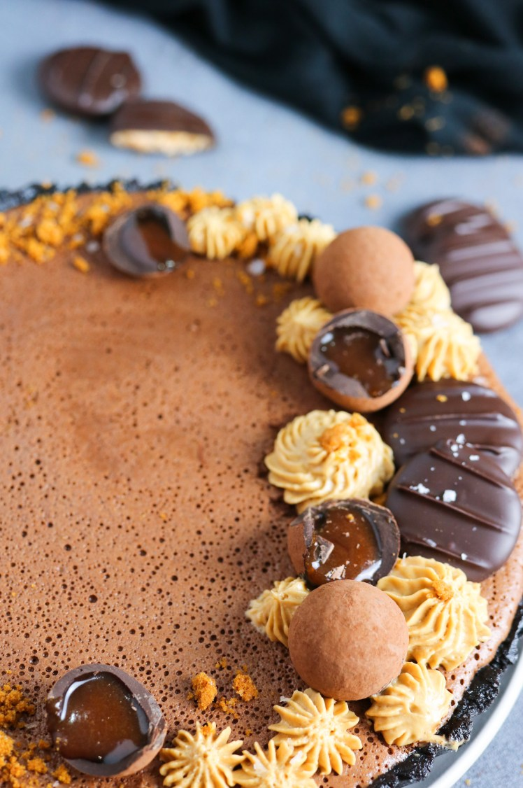 Close up to Chocolate Mousse and Biscoff Tart