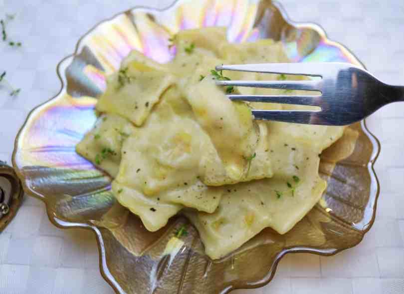 ravioli zucca vegan forchetta