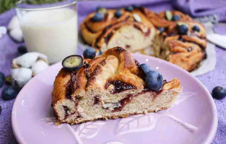 brioche swirl cake slice