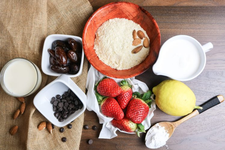 ingredients for vegan raw strawberry tart