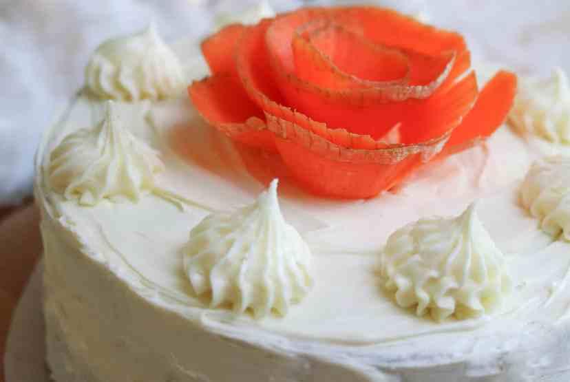 vegan carrot cake carrot rose