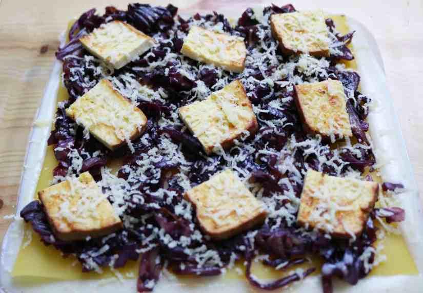 Radicchio and Smoked Tofu Lasagna layers