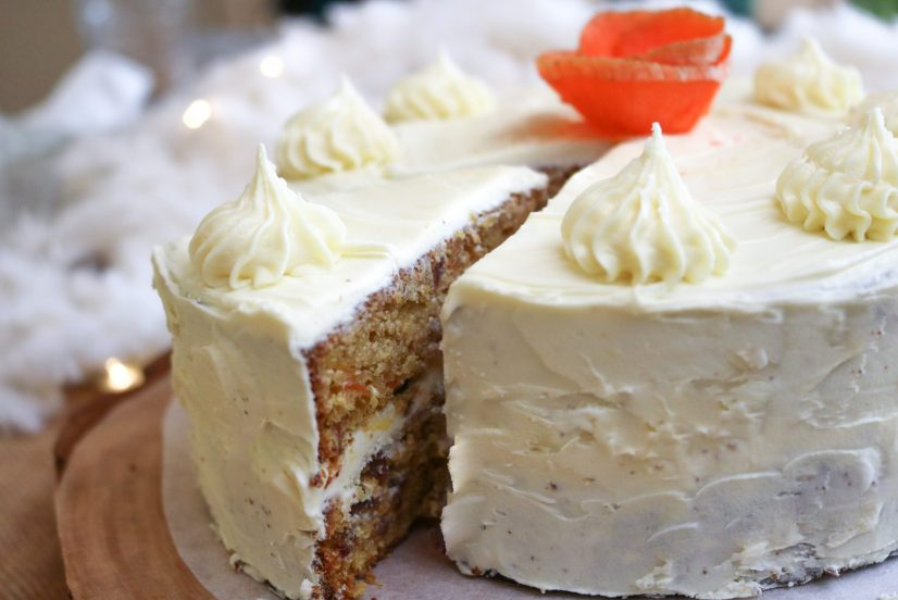 vegan carrot cake close up frosting