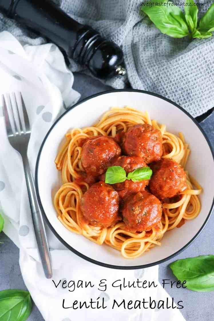 Lentil Meatballs in Rich Tomato Sauce over cooked spaghetti