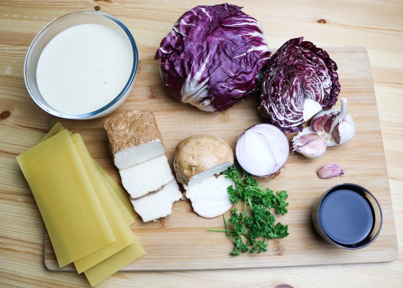ingredients for Radicchio and Smoked Tofu Lasagna