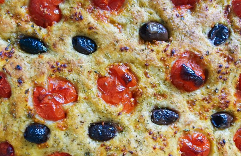 close up of Classic Focaccia Barese
