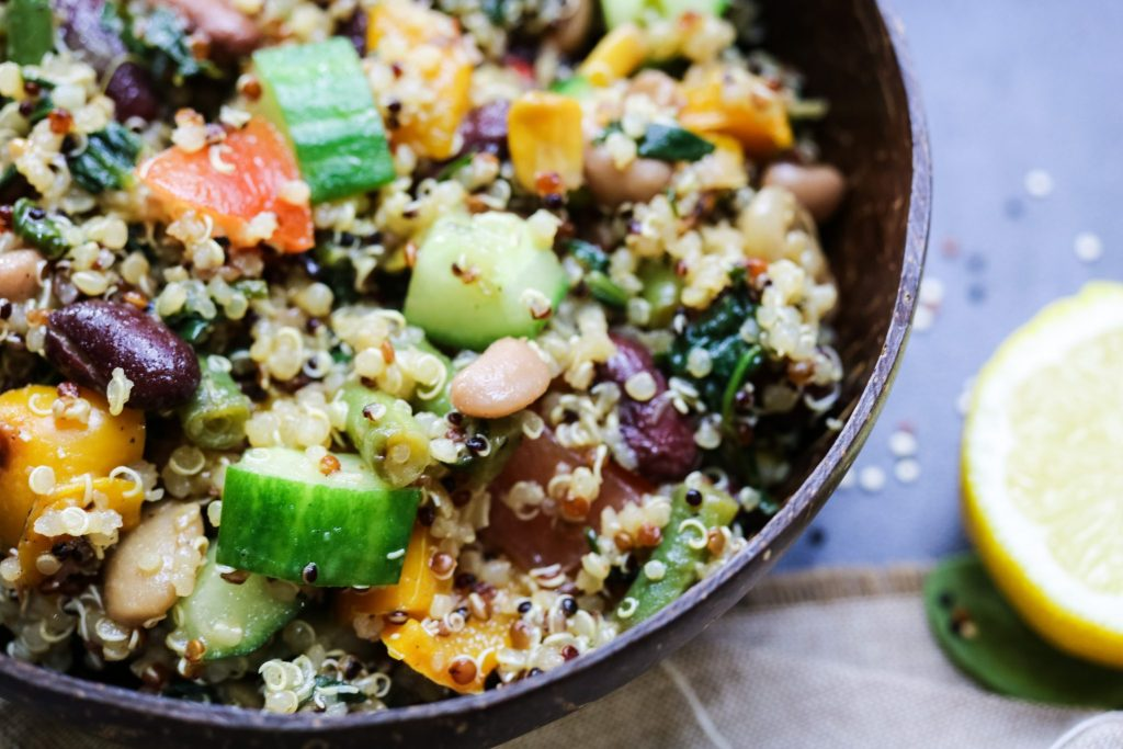Rich and Refreshing Quinoa Salad close up in bowl