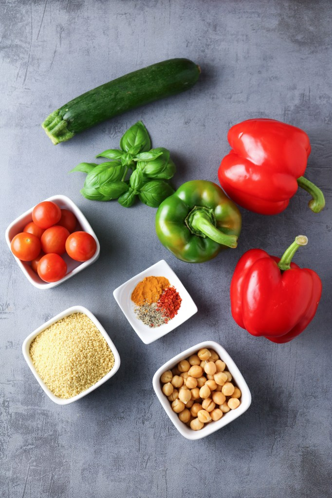ingredients for couscous stuffed peppers