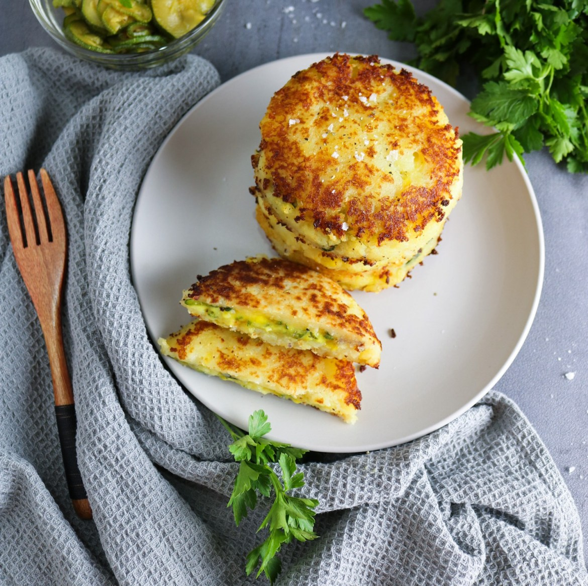 Courgette and Potato Cakes + Vegan Cheese Sauce